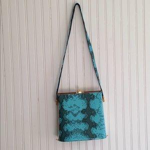 Vintage 1980s large clasp blue faux snake skin bag